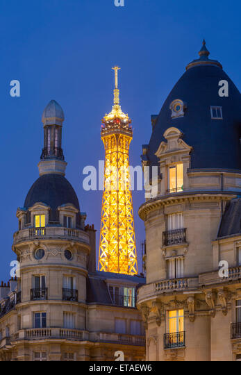 Eiffel Tower viewed from Passy district, Paris, France - Stock Image