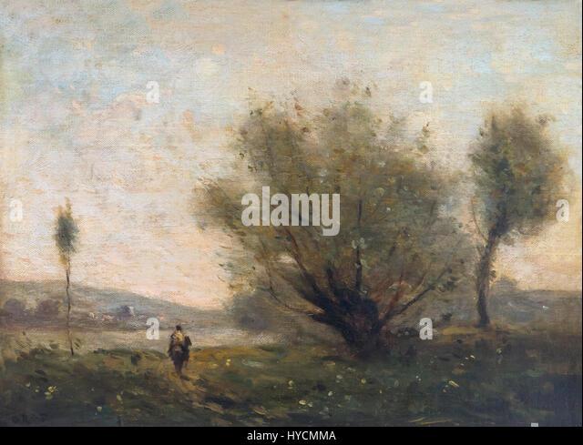 Landscape near Ville d'Avray, by Camille Corot, circa 1870, Boijmans van Beuningen Museum, Rotterdam, Netherlands, - Stock Image
