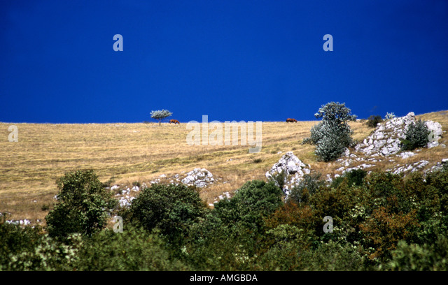 The beautiful  Sibillini Mountains of Le Marche are part of the Appennino Centrale  in Italy - Stock Image