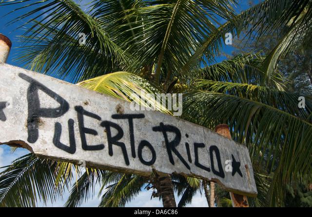 Puerto Rico, Caribbean, Greater Antilles, Antilles, Luquillo, palm beach, palm beaches, sand beach, sand beaches, - Stock Image