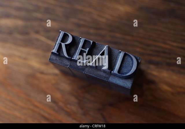 Lead type spelling 'read' - Stock Image