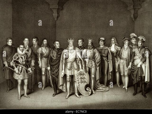 The noble sons of Ireland. Print shows men prominent in Irish history, wearing the particular dress of their times. - Stock Image
