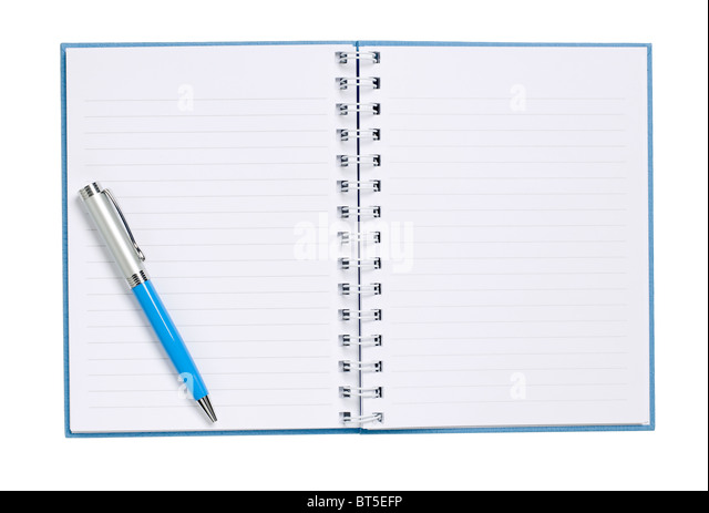 Hard Cover Book pages diary ledger elevated view - Stock Image