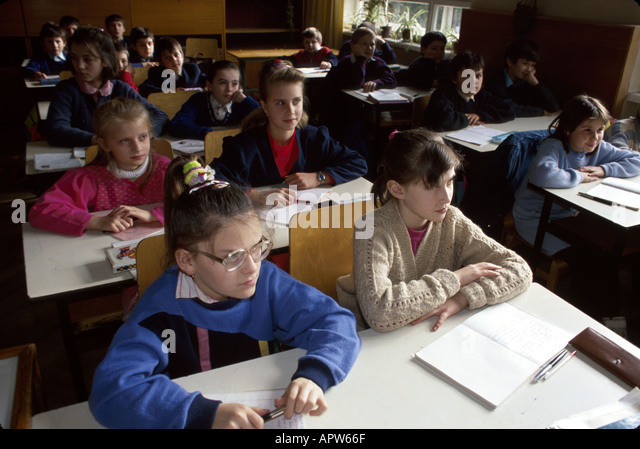 Ukraine Eastern Europe Lviv Lvov Secondary School Number 4 foreign literature students age 11 years - Stock Image
