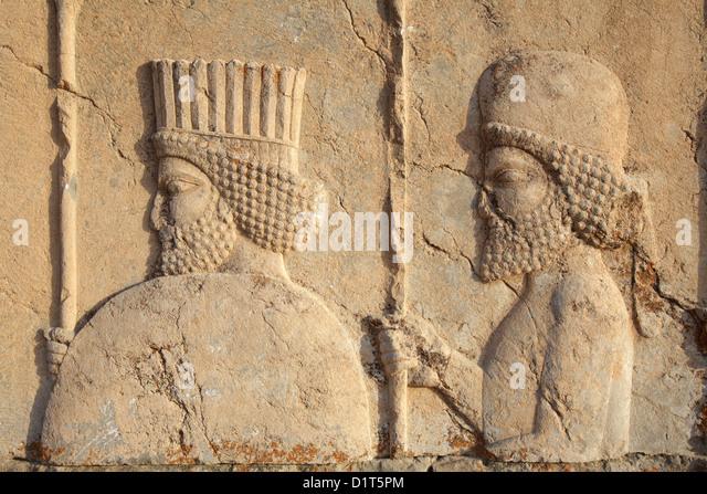 Relief of warriors, Iran, Persepolis, Iran - Stock Image