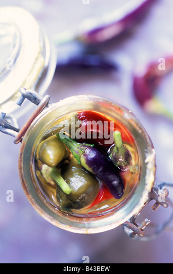 jar of peppers - Stock Image