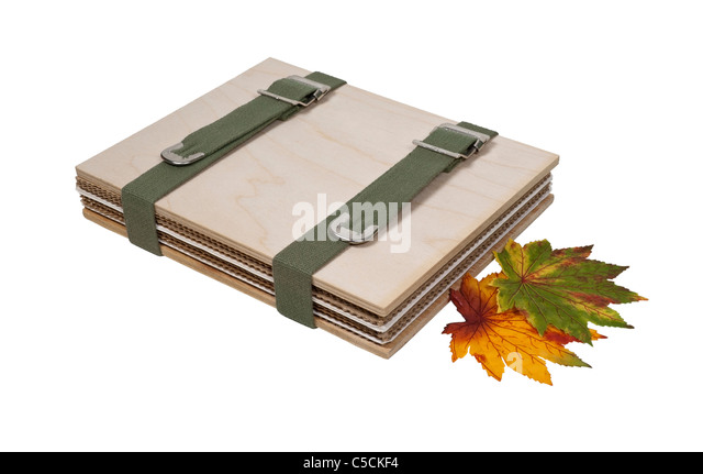 Flower press made up of blotting paper in corrugated cardboard pressed between sheets of wood - path included - Stock Image