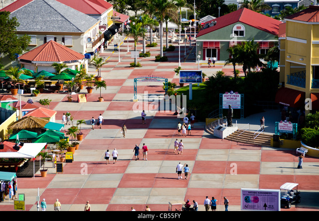 St Maarten Philipsburg tourists at the Dr A C Wathey cruise port above from Caribbean cruise ship - Stock Image