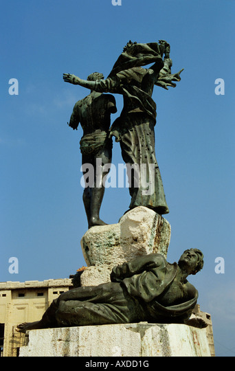 Bullet holes covering statues in Martyr's Place, Beirut, Lebanon. - Stock Image