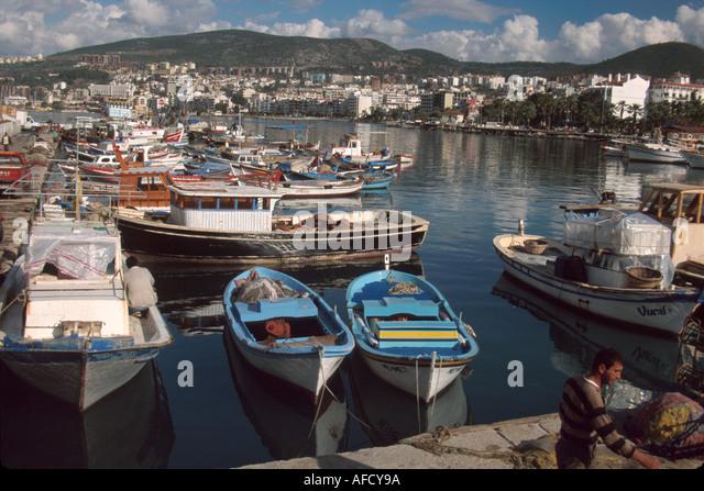 Turkey Aegean Coast Kusadasi Harbor local fishing boats - Stock Image