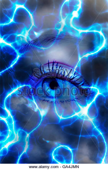 woman eye surrounded by electric waves - Stock-Bilder