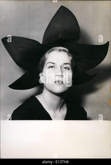 Mar. 27, 2012 - Spring Hat Styles ''Ledey'' black taffeta hat in the shape of a flower. Designed - Stock-Bilder