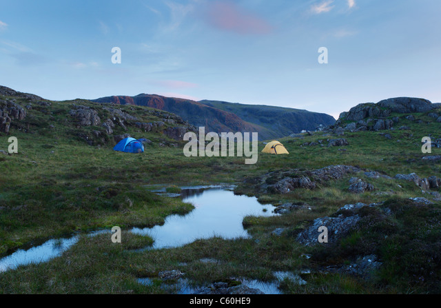 Wild Camping on Great Round How. Lake District National Park. Cumbria. England. UK. - Stock-Bilder