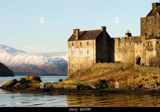 Eilean Donan Castle in winter, Loch Duich, Scotland - Stock-Bilder