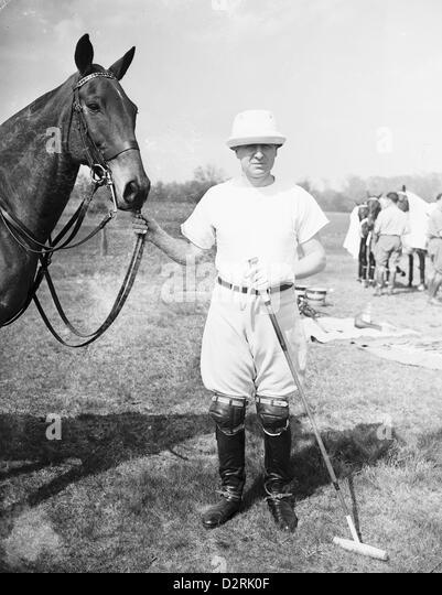 Polo Player Thomas Hitchcock Jr  starts his 28th polo season at Sands Point, NY, 1939 - Stock Image