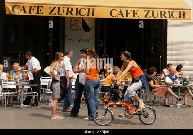 Spain Barcelona Cafe Zurich people - Stock Image