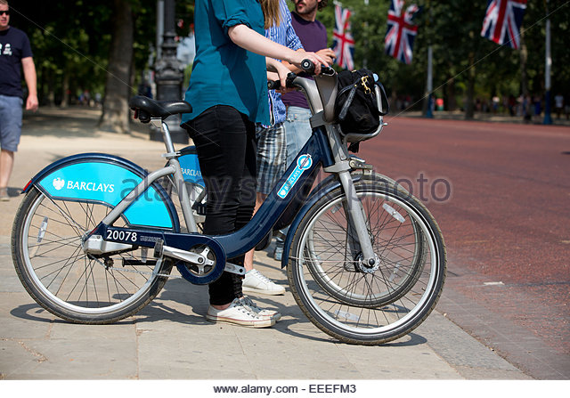 Side view of a Cycle Hire bike - Stock Image
