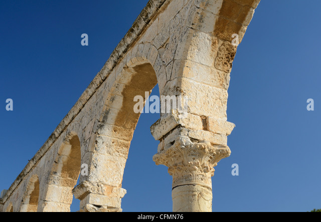 Arches on the temple mount in Jerusalem - Stock Image