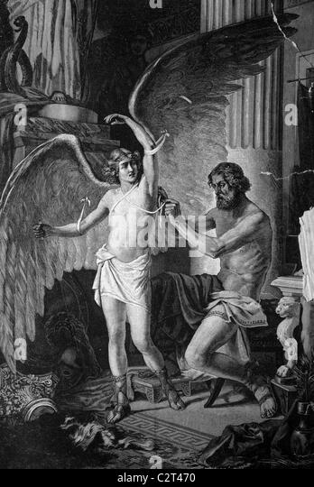 Greek mythology, Daedalus equipping his son Icarus with wings, historical illlustration, about 1886 - Stock Image