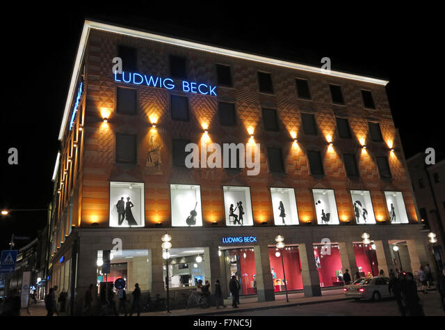 Ludwig Beck department store, Munich, Germany at night - Stock Image