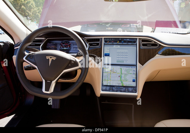 Tesla Model S electric car interior - Stock Image