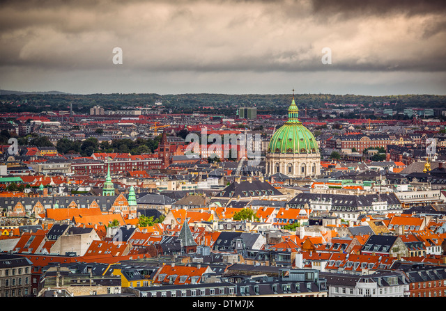 Copenhagen, Denmark cityscape at the Marble Church. - Stock-Bilder