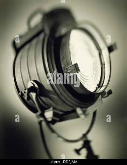 A large old fashioned spotlight. Black & white toned - Stock Image