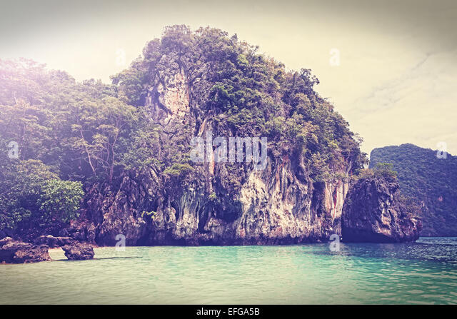 Vintage filtered picture of island, Andaman sea Thailand. - Stock Image