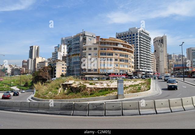 Beirut old and new, Lebanon; restoration or preservation, destruction and rebuilding,Hotels of Ras Beirut. - Stock Image