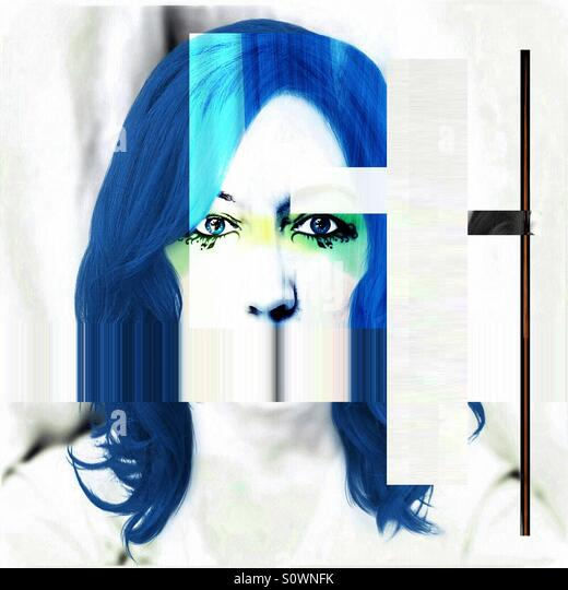 Woman with Blue Hair - Stock Image