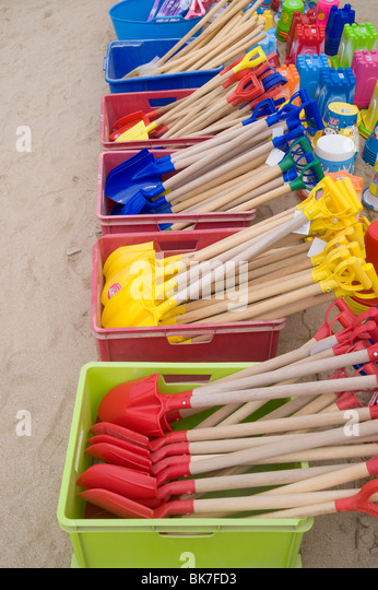 Beach spades at newquay - Stock Image
