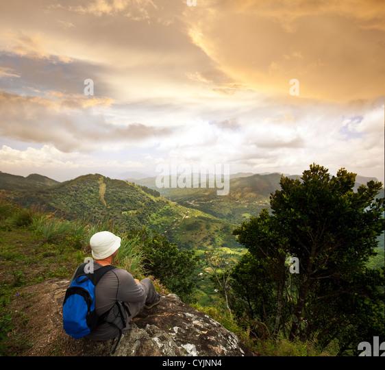 hiker in mountains - Stock-Bilder