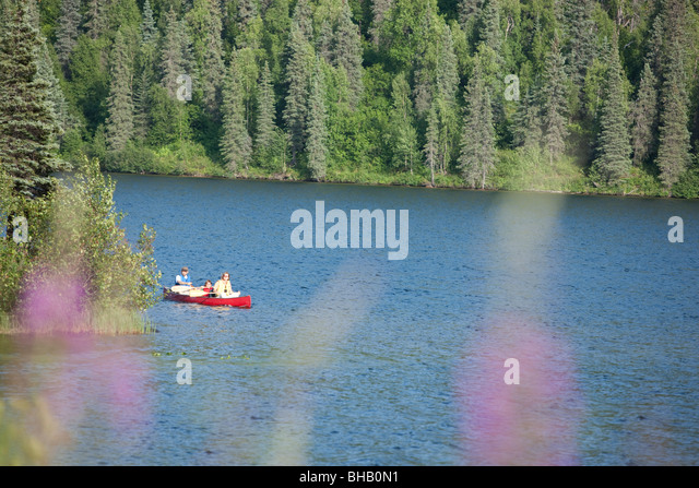 Family paddling a canoe together on Byers Lake, Summer, Denali State Park, Southcentral Alaska, USA. - Stock Image