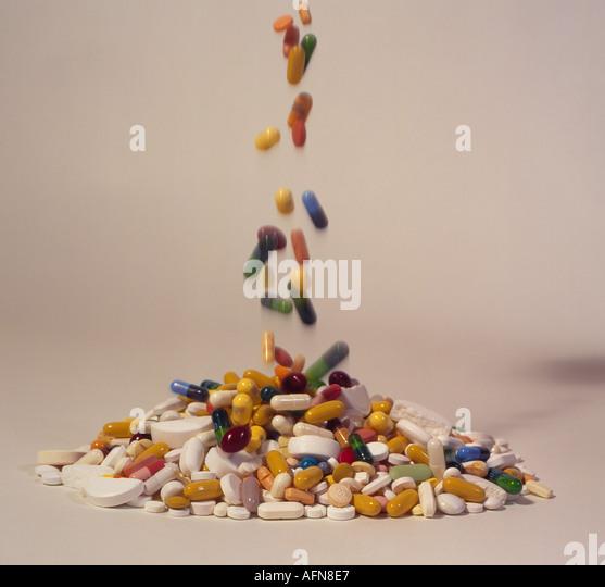 falling medicine pills. Photo by Willy Matheisl - Stock Image