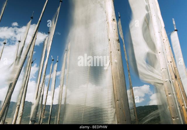 Prayer Flags at Tsechu or Festival, Ura, Bumthang Valley, BHUTAN - Stock Image