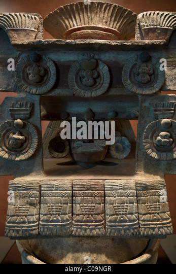 Highly decorative ceremonial urn or 'Brasero tipo Teatro' from Teotihuacan, National Museum of Anthropology, - Stock Image
