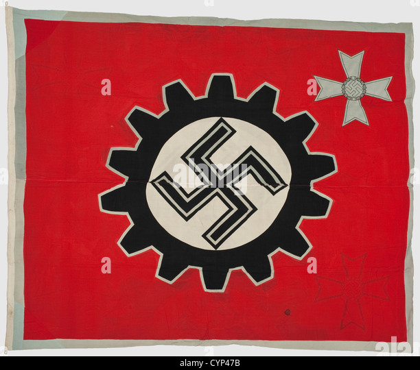 A flag for war model plants, of polychrome printed flag linen with silver grey edging and a War Merit Cross depicted - Stock Image