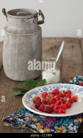 Still-life with raspberries and a milk-can - Stock Image