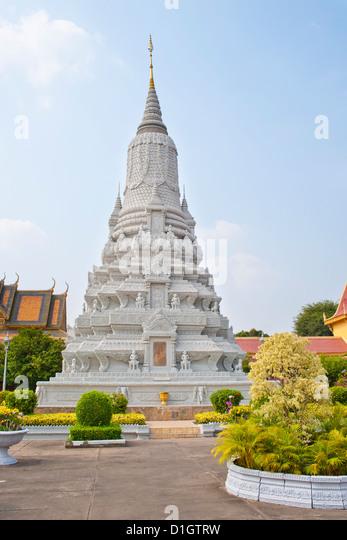 Stupa of King Norodom at The Silver Pagoda, (Temple of the Emerald Buddha), The Royal Palace, Phnom Penh, Cambodia, - Stock Image
