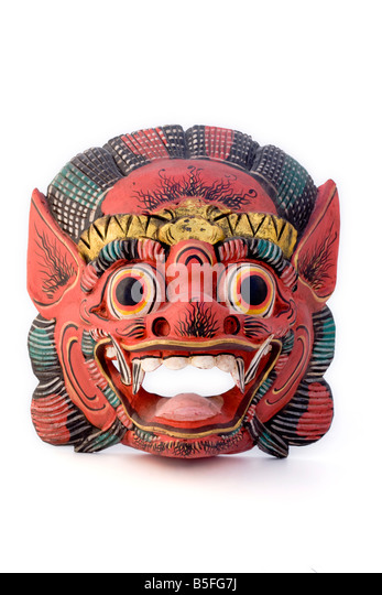 Wooden mask from Thailand - Stock Image