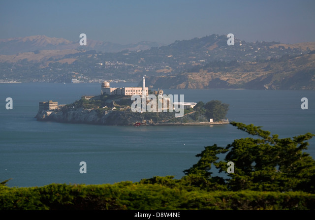 Alcatraz from Telegraph Hill, San Francisco, California - Stock Image