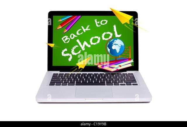 Isolated modern laptop back to school chalkboard - Stock Image