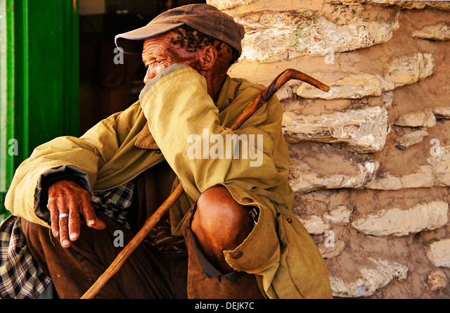 A San bushman at D´Kar Ghanzi Farms, Botswana - Stock Image