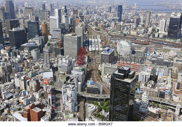 Umeda Yodo River Osaka Station Osaka Osaka Kinki Japan - Stock Image