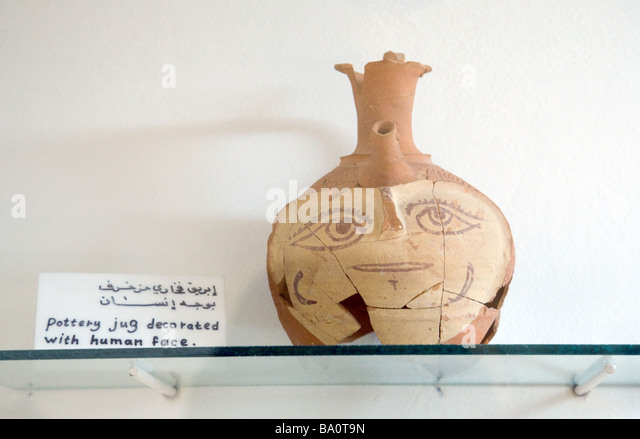Byzantine age pottery, in the Museum of Archaeology, Jerash, Jordan - Stock Image