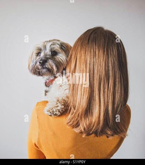 A rear view of a fashionable young girl with shiny hair holding her cute pet dog on her shoulder - Stock Image