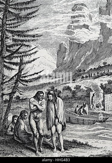 Natives of Patagonia encountered by Ferdinand Magellan - Stock Image