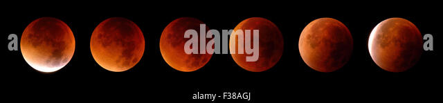 Collage of 6 stages of a total lunar eclipse or blood moon, shot on September 28, 2015 - Stock Image