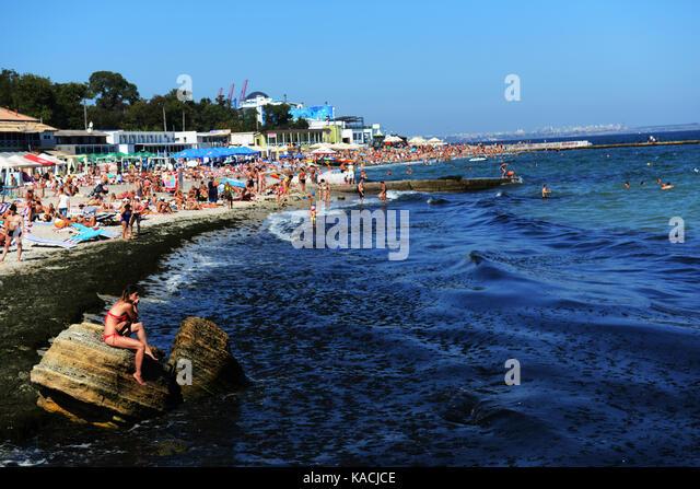 Otrada beach in Odessa, Ukraine. - Stock Image