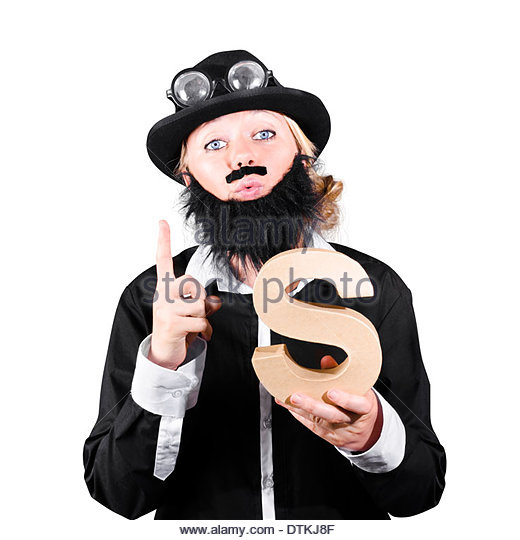 Woman Dressed Like A Man With Fake Beard And Mustache Pointing Finger And Holding Alphabet S For Solution - Stock Image